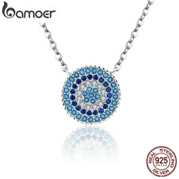 Blue eye pendant online shopping - BAMOER Popular Sterling Silver Round Blue Crystal Lucky Blue Eyes Women Pendant Necklaces Authentic Silver Jewelry SCN099