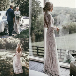 chic sheath wedding dresses 2019 - Boho Sheath Full Lace Wedding Dresses High Neck Long Sleeves Chic Backless Bridal Dress 2019 Plus Size Sexy Country Beac