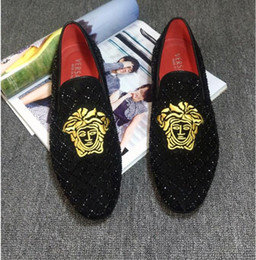Men italian slippers online shopping - Italian Classic Business Diamond Rhinestone Men Loafers Luxury Rivets Shoes Brand Slip on Pointed Toe Party Slippers Wedding Shoes W264