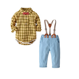 China Gentleman Baby clothes Baby boy's clothing sets infant 3Pcs Suits Boys cotton bodysuits+Suspender trousers +bow tie 19F077 cheap baby boy suspender trousers suppliers