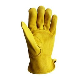 Safety Gloves Leather Australia - New Men Work Gloves Cowhide Leather Security Protection Wear Safety Working Climbing Outdoor Sports Gloves For Men