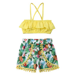 Canvas Prints Free Shipping Australia - Toddler Baby Girls free shipping Clothes Ruffle off shoulder strap pullover sleeveless solid Tops pineapple print Tassel Shorts