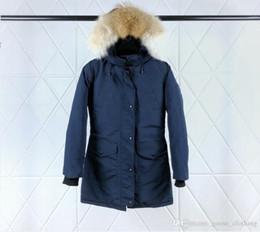 $enCountryForm.capitalKeyWord Australia - Women's Dark Blue Long Hooded Wolf Fur Collar Goose Down Jacket Waist Zipper Closure Waterproof Fabric Cold Jacket DHL Transport