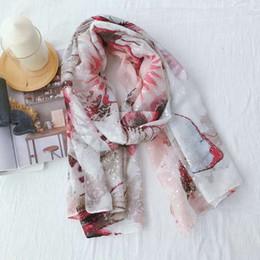 Scarfs Cotton Australia - Women's Fashion Scarf Hot Silver Butterfly Pattern Cotton and Linen Scarf Thin Travel Sunscreen Shawl Beach Towel