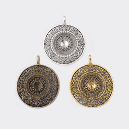 $enCountryForm.capitalKeyWord UK - 2PCS Antique Silver Bronze Gold Large Round Hollow Filigree Charms Pendants For Necklace Jewelry Making Findings 56x68mm