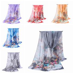 Butterfly print scarves online shopping - Fashion Woman Silk Chiffon Scarf CM Girl Butterfly Animal Print Wrap Classic Soft Lady Beach Cover TTA1199