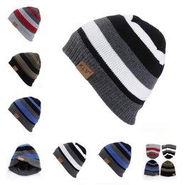 54a04a8549b3 Women s Winter Beanie Hat Autumn Striped Knitted Skullies Beanies For Men  Women Warm Slouchy Balaclava Hats