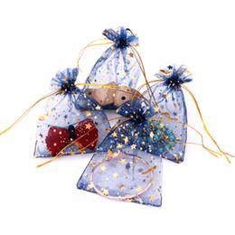 $enCountryForm.capitalKeyWord NZ - 50pcs Navy Blue Jewelry Bag 9X12cm Wedding Gift Star Moon Organza bag Drawable Jewelry Packaging Display & Jewelry Pouches