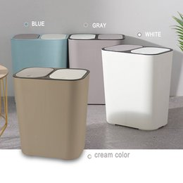 plastic recycle NZ - Trash Can Rectangle Plastic Push-Button Dual Compartment 12liter Recycling Waste Bin Garbage Can TB Sale