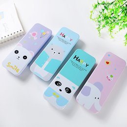 Metal Stationary Australia - 1pc Color Random High-capacity Simple Two Layer Cartoon Bear Metal Plastic Pencil Case Pen Box Stationary Storage School Supply