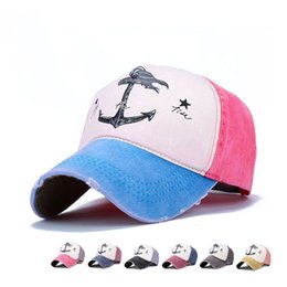 Anchor cAp online shopping - 5 Panel Hip Hop Snapback Hats Couples Hat Man Woman Cotton Baseball Caps Do Old Pirate Ship Anchor Gorras Summer Washed