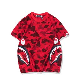 China 2019 summer new Japanese popular logo camouflage tooth pattern young men and women wholesale trade short sleeve supplier young logo suppliers