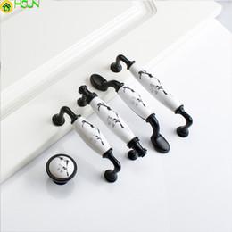 $enCountryForm.capitalKeyWord Australia - Ceramic White black Cabinet Handles Zinc Alloy Kitchen Cupboard Door Pulls Drawer Knobs Fashion Furniture Handle Hardware