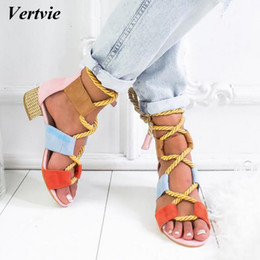 Chinese  Vertvie 2019 Torridity Fashion Fasten Espadrilles Women Sandals Heel Pointed Mouth Sandals Hemp Rope Up Sandal Y190706 manufacturers
