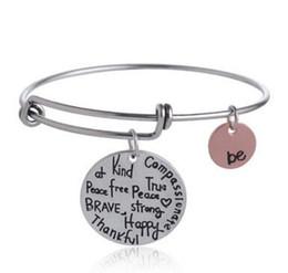 "$enCountryForm.capitalKeyWord Australia - Hot sell Charm Bangles ""Be"" Graffiti Friend Brave Happy Strong Thankful Bracelets Expandable Wire Bracelets"