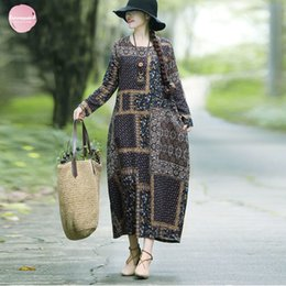 long sleeve maxi dresses Australia - Vintage Printed Elbise Linen Dress For Women Loose Casual Maxi Dresses Long Sleeve Round Neck Fashion Cotton Mujer