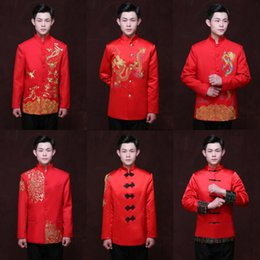 $enCountryForm.capitalKeyWord Australia - Long Sleeve Red Chinese Traditional Bridegroom Tops Ancient Tang Costume Embroidery Dragon Toast Clothing Chinese Tunic Suit 90