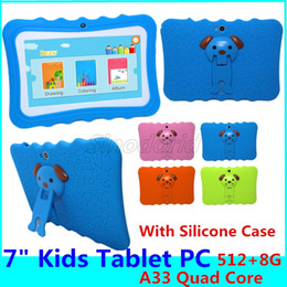 children tablets wifi Australia - Kids Tablet PC 7 inch Allwinner A33 Quad Core 512 8GB children tablets Android 4.4 wifi big speaker protective cover