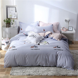$enCountryForm.capitalKeyWord Australia - Deer Pineapple Geometric 4pcs Bed Cover Set Cartoon Duvet Cover Bed Sheets And Pillowcases Comforter Bedding Set 2TJ-61001