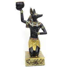 $enCountryForm.capitalKeyWord Australia - Egypt Candle Holders Resin Figurines Anubis Sphinx Home Decoration Candlestick