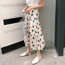 Ruffled Bottom Dresses Australia - Bgteever Summer A-line Print Hearts Long Skirt Chic Ruffle Women Skirts High Waist Soft Casual Girls Bottoms 2018 Femminino J190626