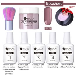 nails set lamp 2019 - 8Pcs set Dipping Nail Glitter Powder Kits Gradient French Nail Natural Color Holographic Pigment Dry Without Lamp Cure c