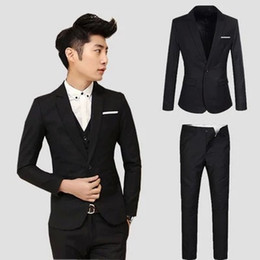 slim korean male models UK - 2017 Male Two-Piece Suit Set Spring And Autumn Wedding Dress And Groom Best Man Suit Slim Models Korean-style