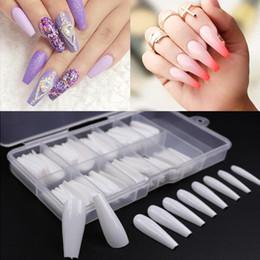 100pcs / caixa Falso prego Artificial longo da bailarina Clear / Natural / branco Falso Coffin Nails Art Tips completa Tampa Manicure + Jewelry Box em Promoção