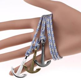Pirate bracelets men online shopping - 2019 Hot Pirate Anchor Bracelets Women Men Nautical Survival Rope Leather Chain Paracord Bangles Female Male Wrap Metal Sport Hooks Jewelry