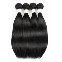 22 Inch Peruvian Hair Wholesale UK - Brazilian Virgin Straight Human Hair Bundles Color 1B Indian Peruvian Hair bundles 3 or 4 Bundles 10-22 Inch Remy Human Hair Extensions