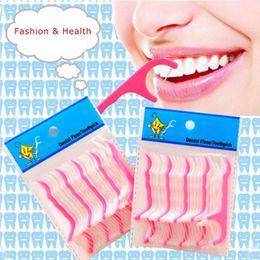 $enCountryForm.capitalKeyWord Australia - Wholesale- 25pcs bag Dental Floss Toothpicks Plastic Nylon Wire Dental Floss Interdental Brush Teeth Stick Toothpicks Floss Pick White Pink