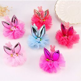 $enCountryForm.capitalKeyWord Australia - New Kids Hair Accessories Sweet Bunny Ear Girls' Hairpin chiffon Flower Hair Clips Headwear Girl Birthday Gift For Party