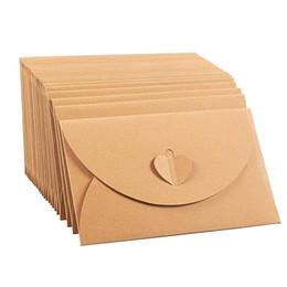 Paper Gift Envelopes UK - 10pcs Vintage Kraft Paper Envelope for Invitations Gift Wedding Envelopes Decoration Stationery Paper School Mini Envelope