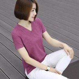 $enCountryForm.capitalKeyWord Australia - 2019 cotton Korean women's T-shirt summer women's irregular loose V-neck bottoming shirt short sleeve