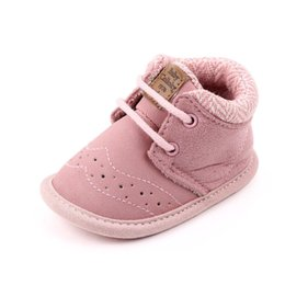 baby prewalkers first shoes NZ - Pink Soft Casual Anti-slip Toddler Shoes Baby Lace-up Girls First Walkers Soft Sole Kid Prewalkers Keep Warm