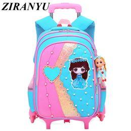 $enCountryForm.capitalKeyWord NZ - New Removable Children School Bags With 2 6 Wheels For Girls Trolley Backpack Kids Wheeled Bag Bookbag Travel Luggage Bags