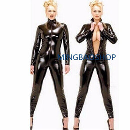 Plus Size Sexy Body Suit Australia - New Sexy Black Catwomen Jumpsuit PVC Spandex Latex Catsuit Costumes for Women Body Suits Fetish Leather Bodysuits Plus Size XXL