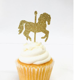 $enCountryForm.capitalKeyWord UK - glitter Carousel Horse carnival theme Birthday Cupcake Topper. Cupcake Decoration. Secret Garden Party Decoration