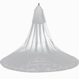 $enCountryForm.capitalKeyWord UK - Long printed Wedding veils ribbon length cathedral edge 2019 new style bridal veils wedding veil ivory color hot sale