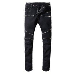 street style cat 2019 - High Street Black Trend Jeans Male Wathet Cat Wear Out Slim Small Feet Microprojectile Punk Trousers cheap street style