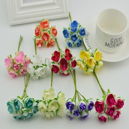 $enCountryForm.capitalKeyWord Australia - 6pcs Silk Tea Roses Stamen Bridal Bouquet For Home Wedding Decora Scrapbooking Fake Flowers Diy Wreath Artificial Flowers Cheap