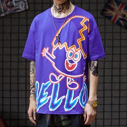 Discount cartoon couples tees - Summer Hip-hop Tide ins Cartoon Graffiti Printing BF Young Student BF Couple Half-sleeve T-shirt Bottom tees