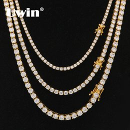 cz chains Australia - Uwin 3mm 4mm 5mm Round Cut Iced Out Cubic Zirconia Tennis Link Chain Hiphop Top Quality Cz Box Clasp Necklace Women Men Jewelry GMX190711