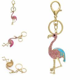 unique keychains for men 2019 - Free DHL Hot Sale Unique Charm Keychain Cute Keychain Flamingo Keyring Keyfob for Fashion ladies Gift Crystal Key Chain