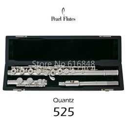 Keys Open Australia - Pearl Quantz 525 C Tune Cupronickel Silver Plated Flute Professional 16 Keys Open Holes Musical Instrument Flute With E Keys and Case