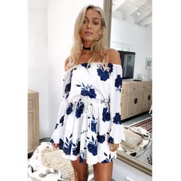 404ba10615 Home Clothing Aliexpress Ebay Europe Trade Explosion Source Word Shoulder  Sexy Backless Dress Vestidos Print dress Beach Dress 2019