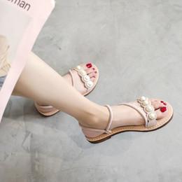 $enCountryForm.capitalKeyWord Australia - Women Pearl Flats Sandals Summer Narrow Band Slip On Slides Fashion Peep Toe Shoes Zapatos Mujer Size 34-41 Black Apricot