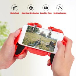 cooling pad stand UK - H5 Cooling Fan Gamepads Game Pad Handle Gaming Controller Joystick for IOS Android Cell Phone Mobile PUBG Aid Holder Stand