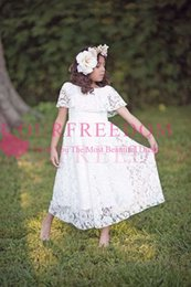 $enCountryForm.capitalKeyWord Australia - 2019 Adorable White Lace Off The Shoulder Flower Girls Dresses Short Sleeve Ankle Length First Communion Dresses Girls Pageant Gown Custom