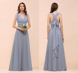 Cheap halter long dresses online shopping - Real Pictures Dusty Blue Chiffon Bridesmaid Dresses Cheap Halter Open Back Formal Prom Evening Gonw Long Miad Of Honor Dresses BM1572